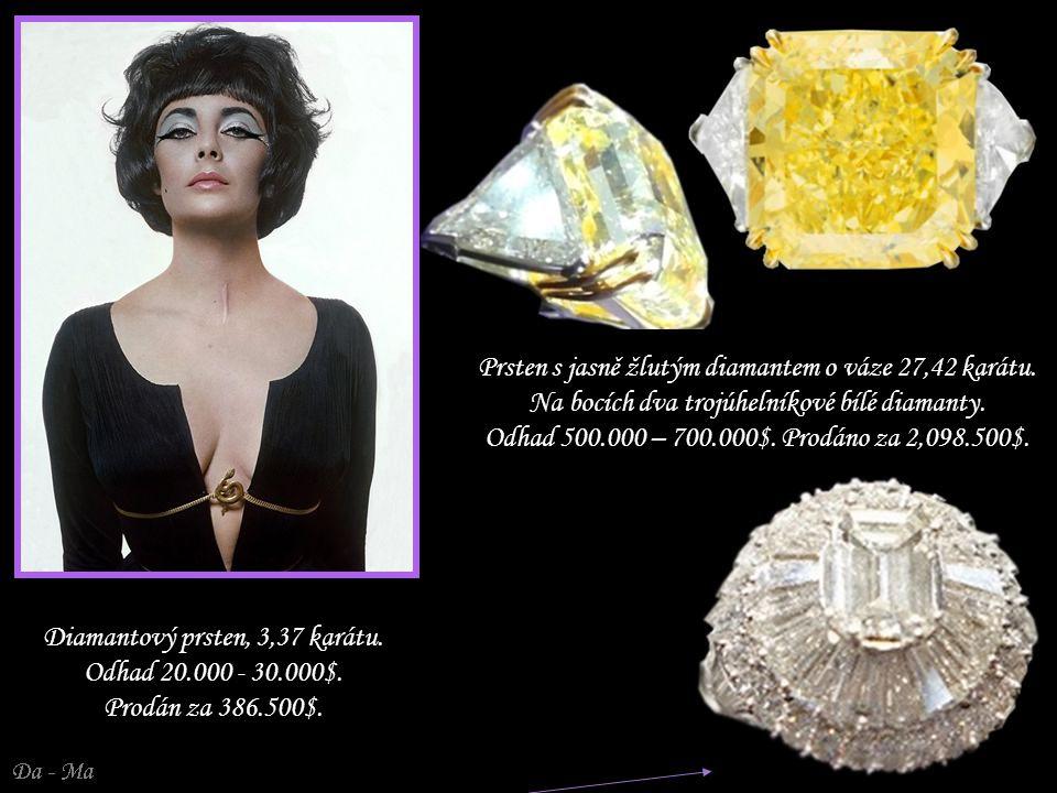 Prsten s jasně žlutým diamantem o váze 27,42 karátu