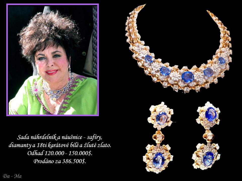 Sada náhrdelník a náušnice - safíry, diamanty a 18ti karátové bílé a žluté zlato.