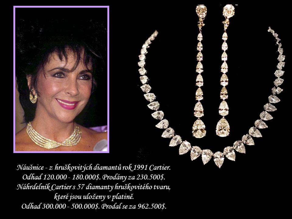 Náušnice - z hruškovitých diamantů rok 1991 Cartier. Odhad 120