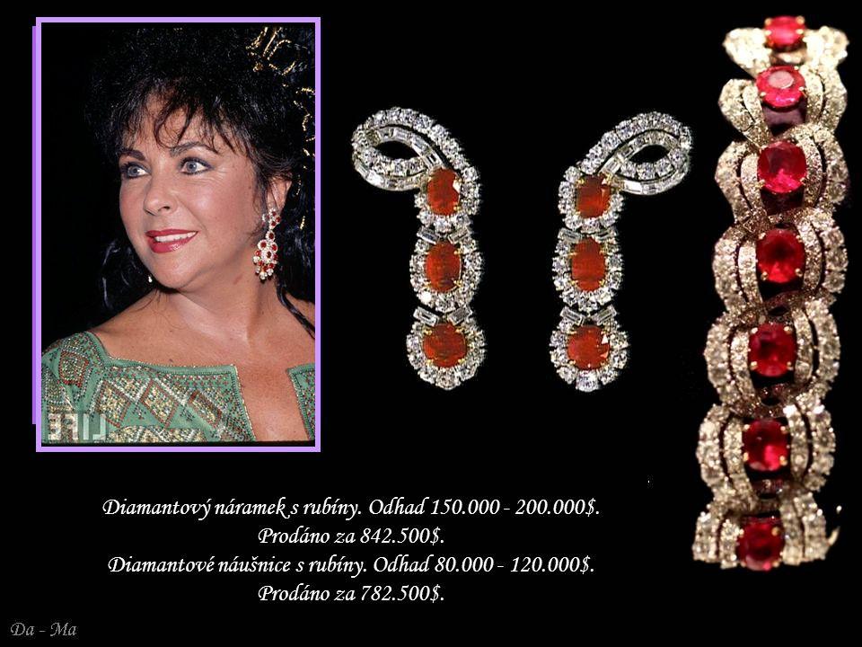 Diamantový náramek s rubíny. Odhad 150.000 - 200.000$.