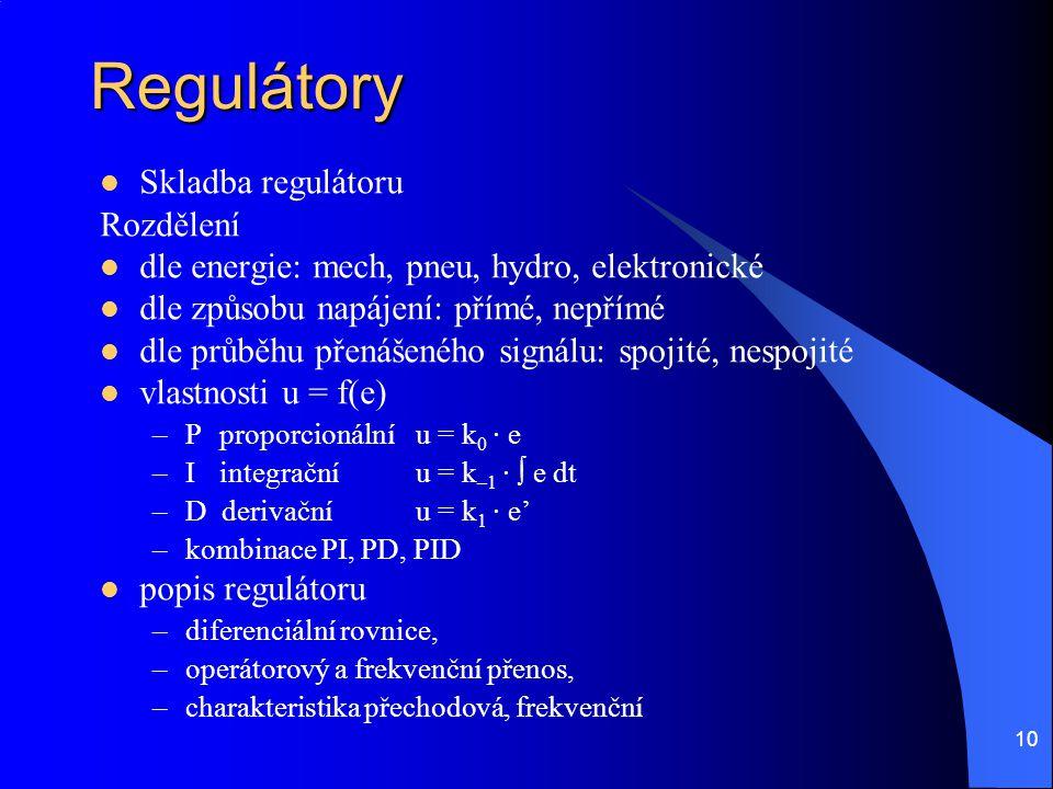 Regulátory Skladba regulátoru Rozdělení