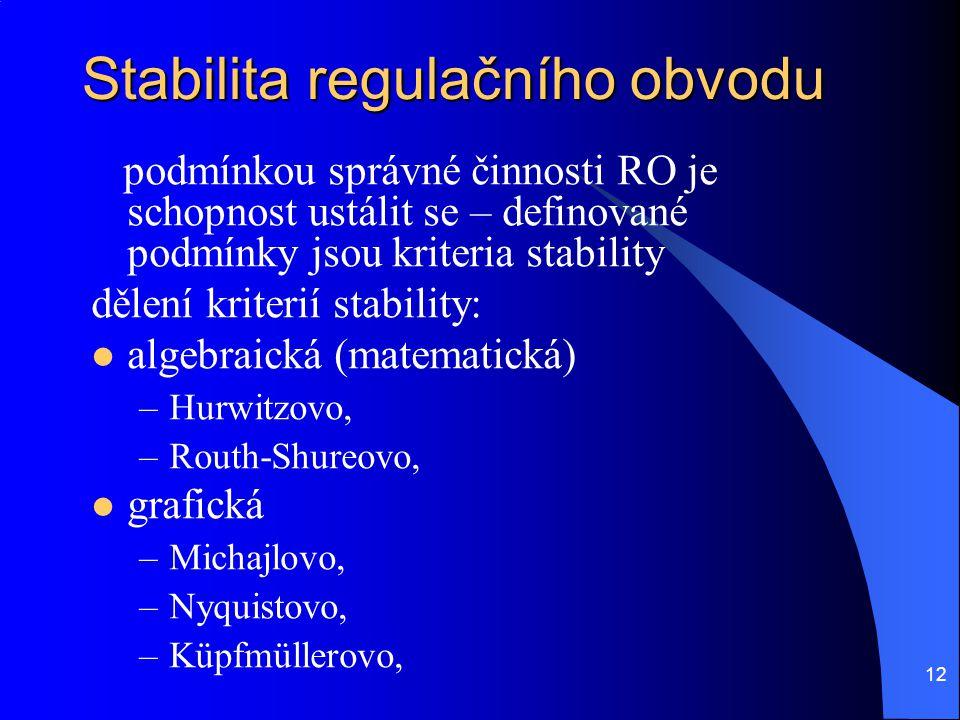 Stabilita regulačního obvodu