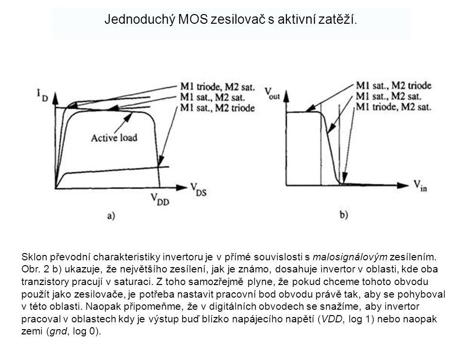 Jednoduchý MOS zesilovač s aktivní zatěží.