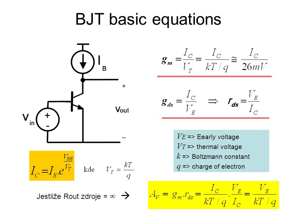 BJT basic equations VE => Eearly voltage VT => thermal voltage