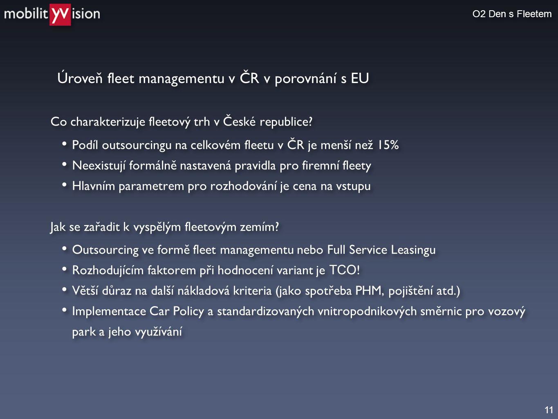 Úroveň fleet managementu v ČR v porovnání s EU