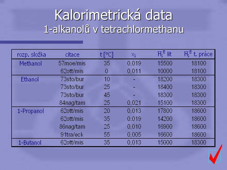 Kalorimetrická data 1-alkanolů v tetrachlormethanu