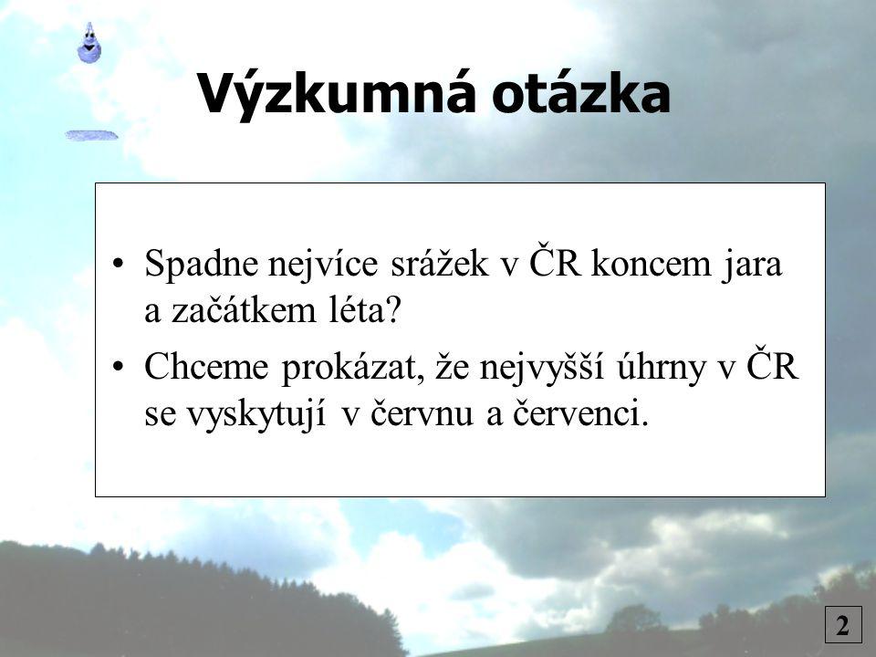Výzkumná otázka Spadne nejvíce srážek v ČR koncem jara a začátkem léta Chceme prokázat, že nejvyšší úhrny v ČR se vyskytují v červnu a červenci.