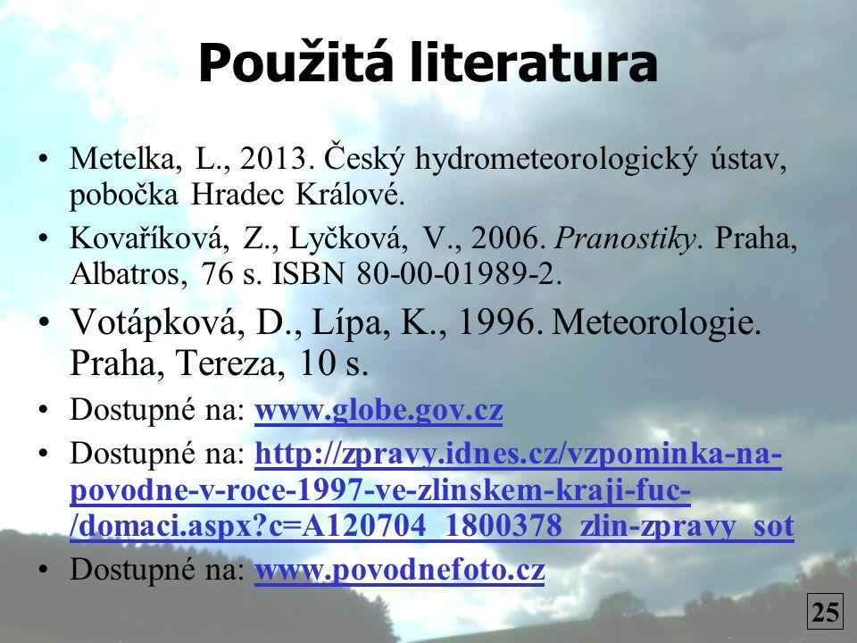 Použitá literatura Metelka, L., 2013. Český hydrometeorologický ústav, pobočka Hradec Králové.