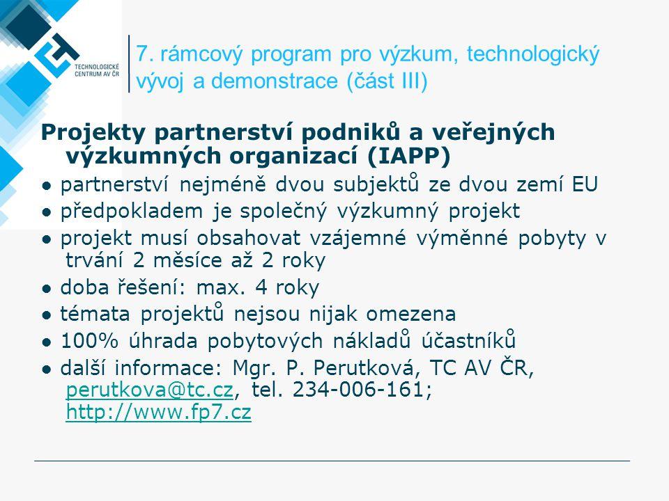 Projekty partnerství podniků a veřejných výzkumných organizací (IAPP)