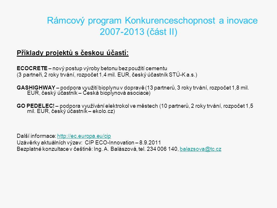 Rámcový program Konkurenceschopnost a inovace 2007-2013 (část II)