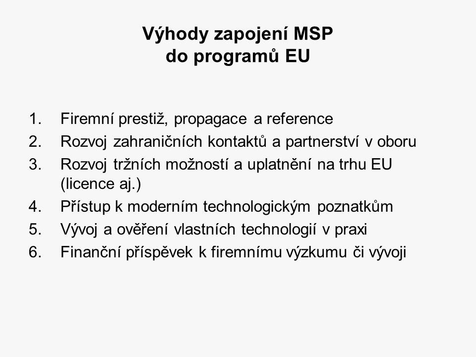 Výhody zapojení MSP do programů EU