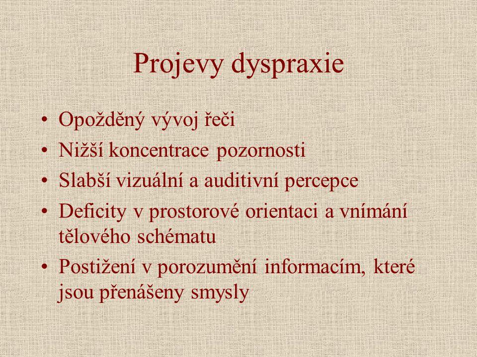 Projevy dyspraxie Opožděný vývoj řeči Nižší koncentrace pozornosti