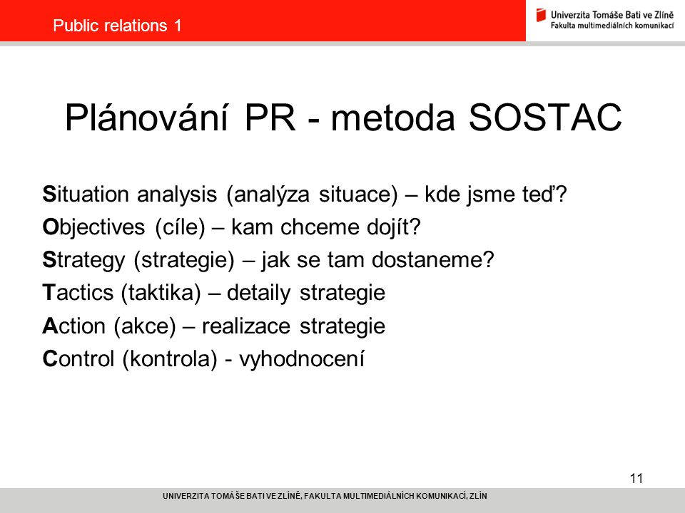 Plánování PR - metoda SOSTAC