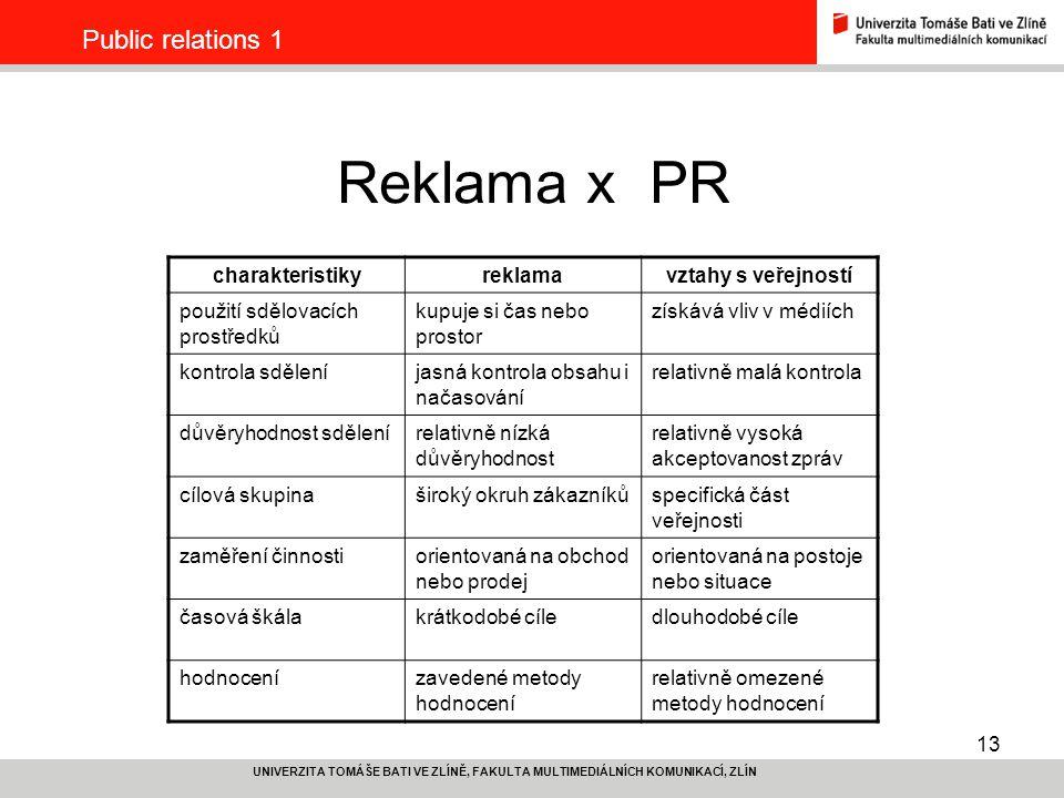 Reklama x PR Public relations 1 charakteristiky reklama