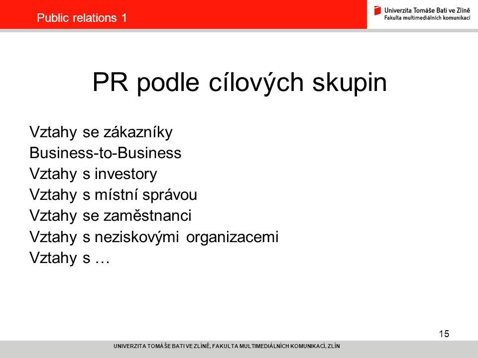 PR podle cílových skupin