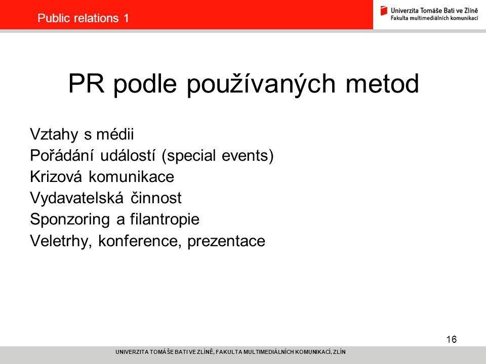 PR podle používaných metod