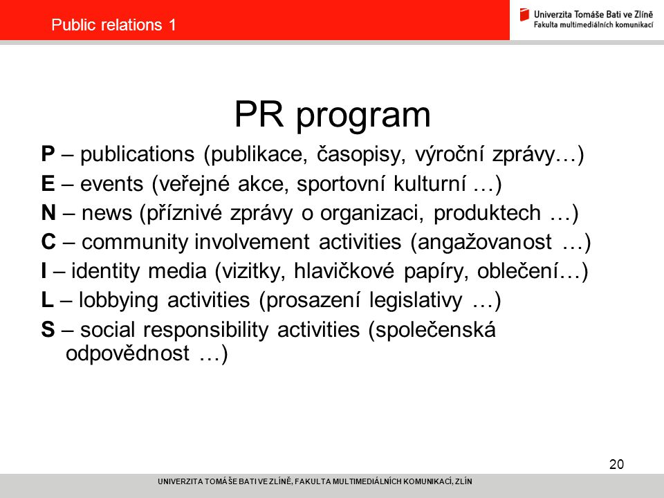 PR program P – publications (publikace, časopisy, výroční zprávy…)
