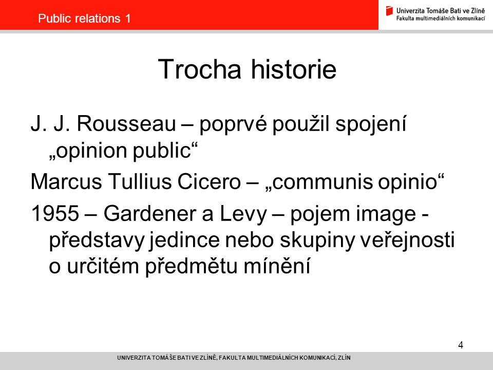 "Public relations 1 Trocha historie. J. J. Rousseau – poprvé použil spojení ""opinion public Marcus Tullius Cicero – ""communis opinio"