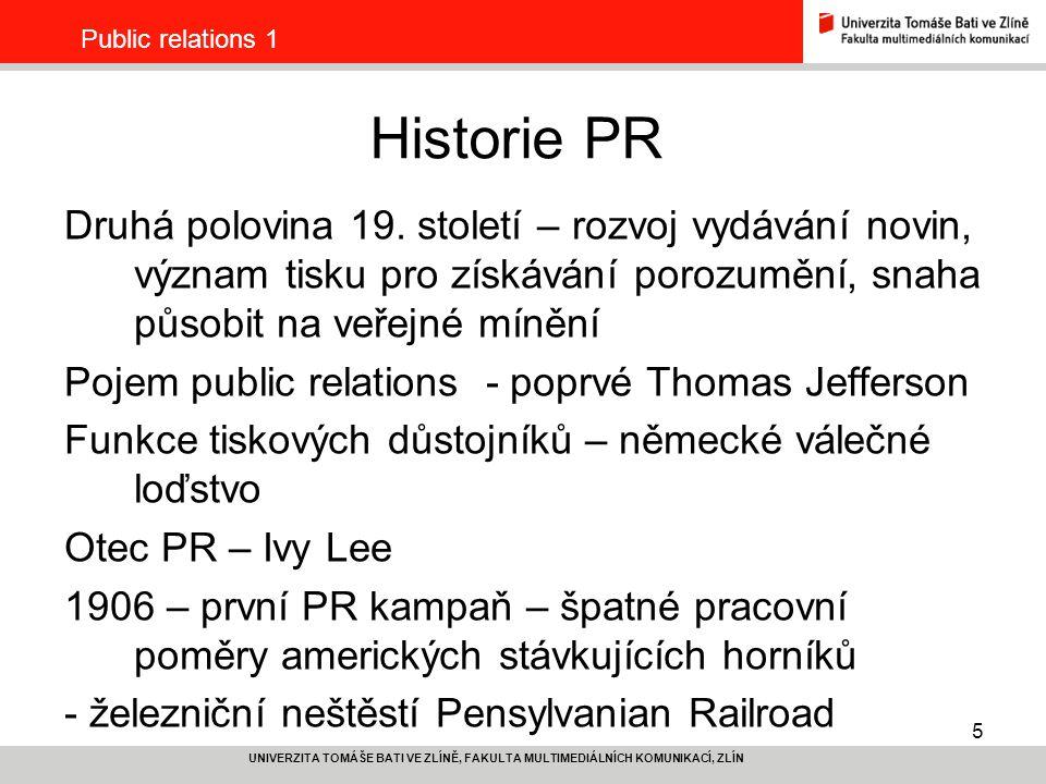 Public relations 1 Historie PR.