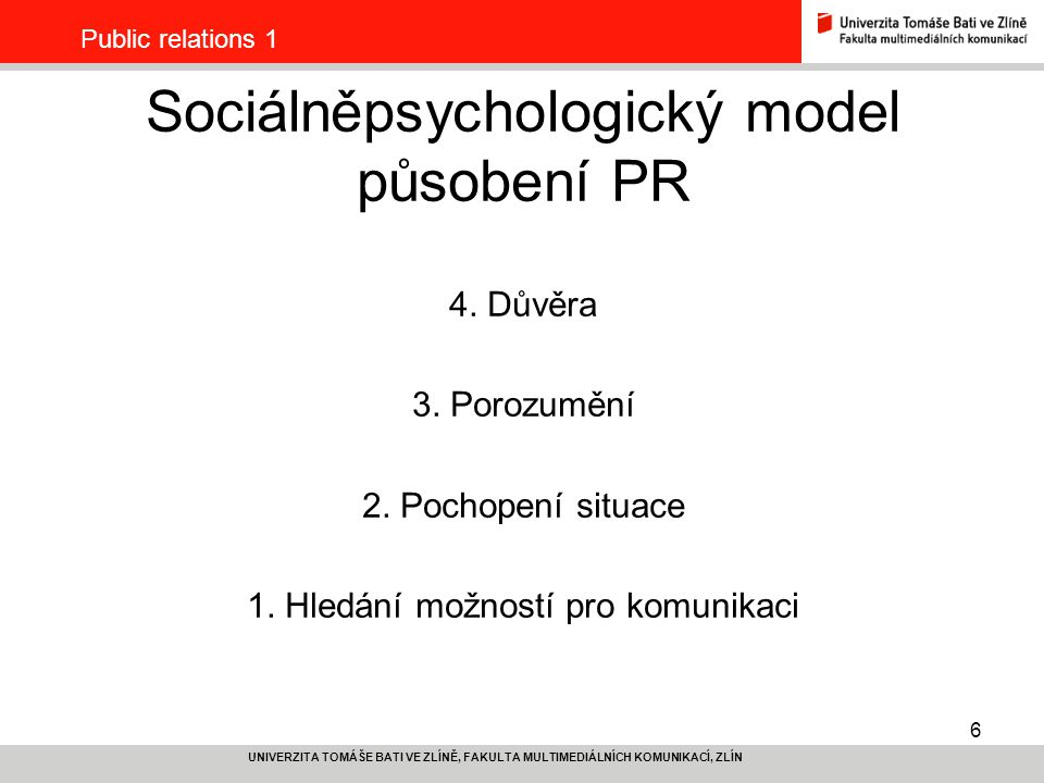 Sociálněpsychologický model působení PR