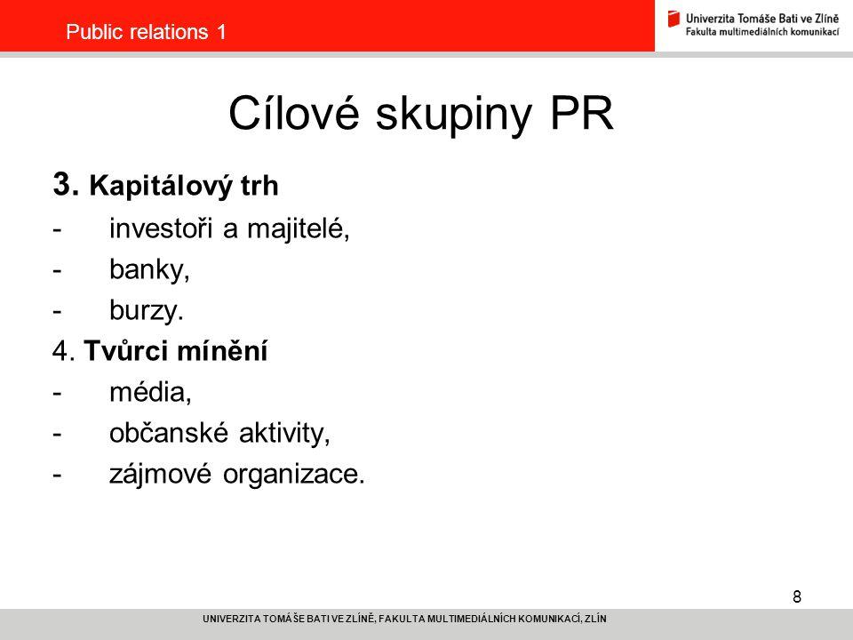 Cílové skupiny PR 3. Kapitálový trh investoři a majitelé, banky,