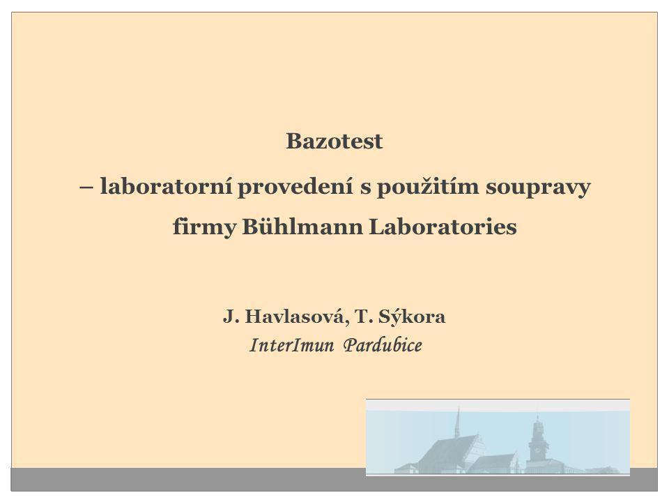 Bazotest – laboratorní provedení s použitím soupravy firmy Bühlmann Laboratories. J. Havlasová, T. Sýkora.