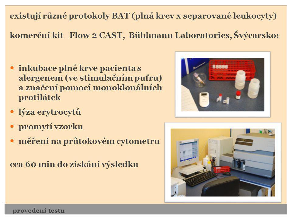 existují různé protokoly BAT (plná krev x separované leukocyty)