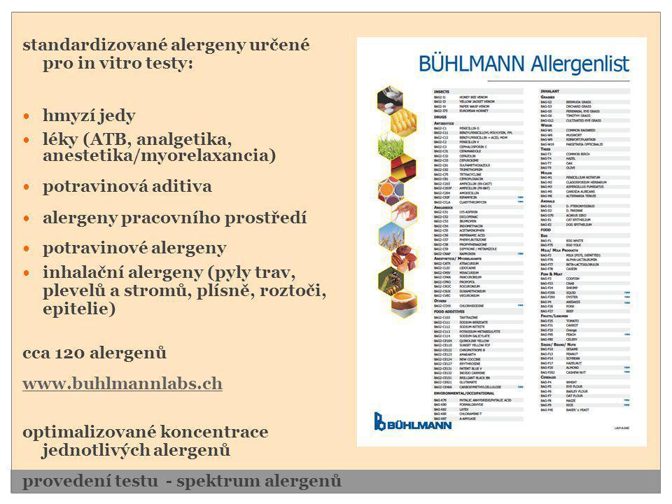 standardizované alergeny určené pro in vitro testy: