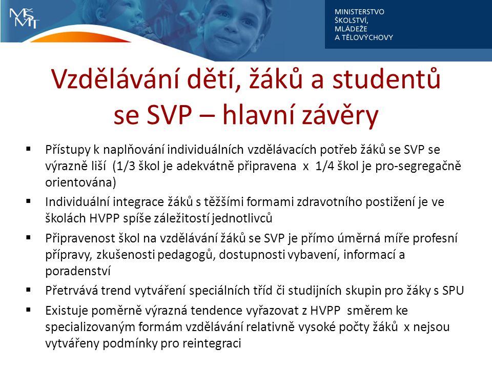 Vzdělávání dětí, žáků a studentů se SVP – hlavní závěry