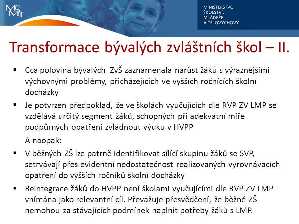 Transformace bývalých zvláštních škol – II.