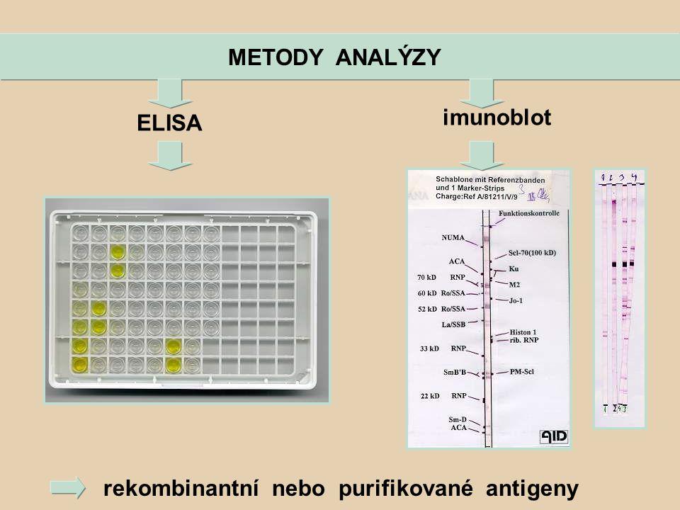METODY ANALÝZY imunoblot ELISA rekombinantní nebo purifikované antigeny