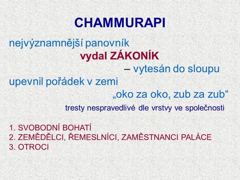 CHAMMURAPI nejvýznamnější panovník vydal ZÁKONÍK – vytesán do sloupu