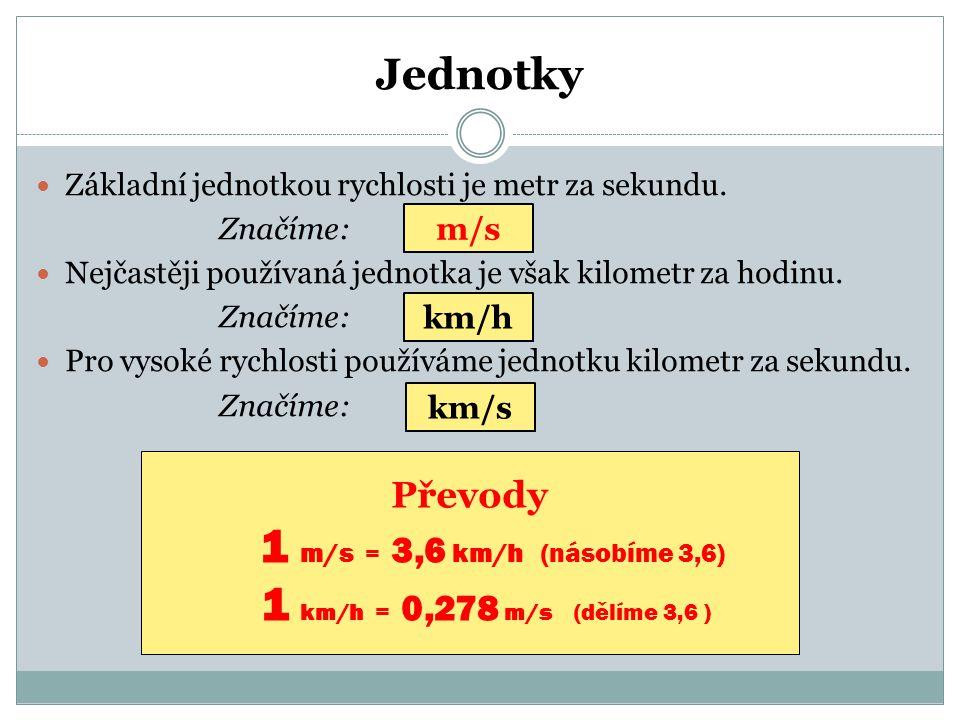 1 m/s = 3,6 km/h (násobíme 3,6) Jednotky