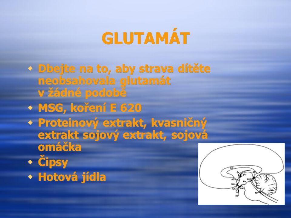 GLUTAMÁT Dbejte na to, aby strava dítěte neobsahovala glutamát v žádné podobě. MSG, koření E 620.