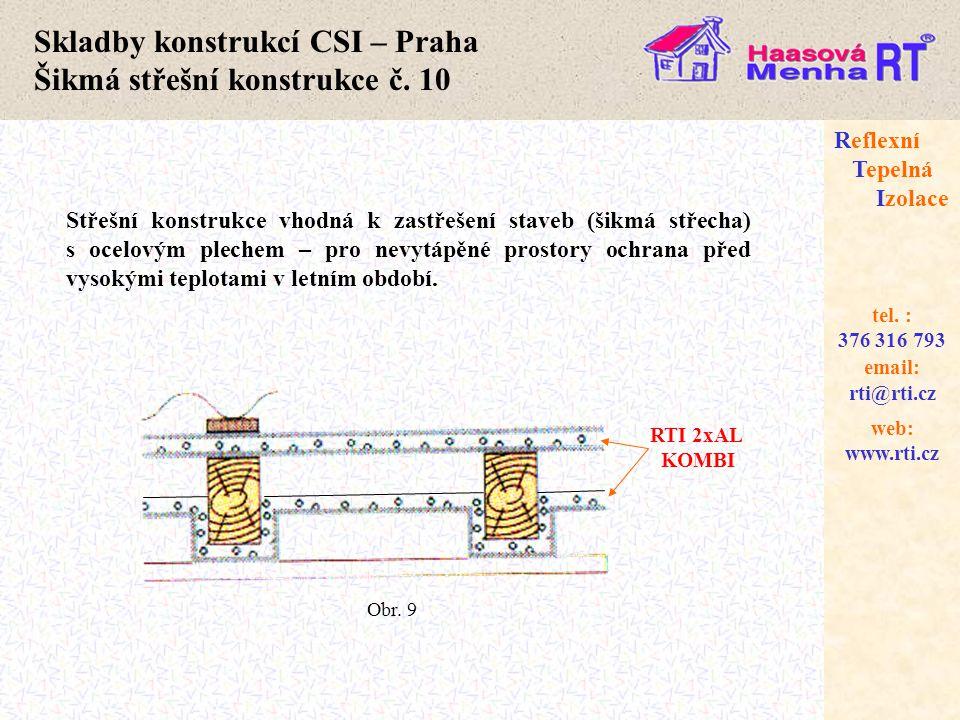 Skladby konstrukcí CSI – Praha Šikmá střešní konstrukce č. 10