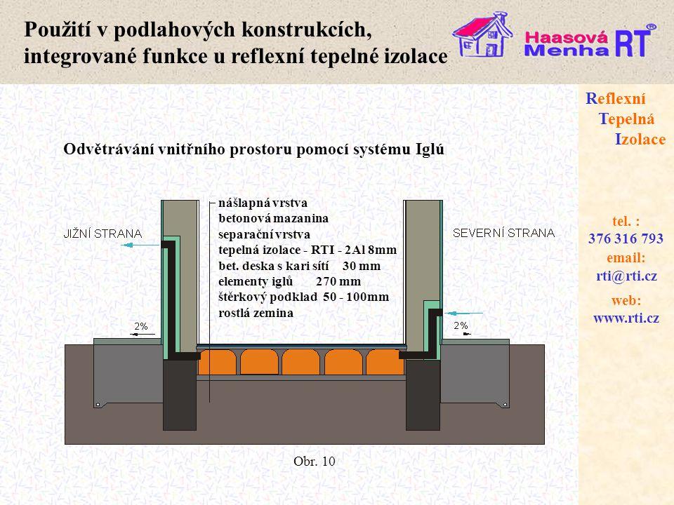 Použití v podlahových konstrukcích, integrované funkce u reflexní tepelné izolace