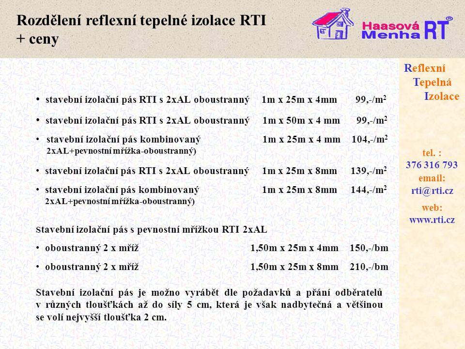 Rozdělení reflexní tepelné izolace RTI + ceny