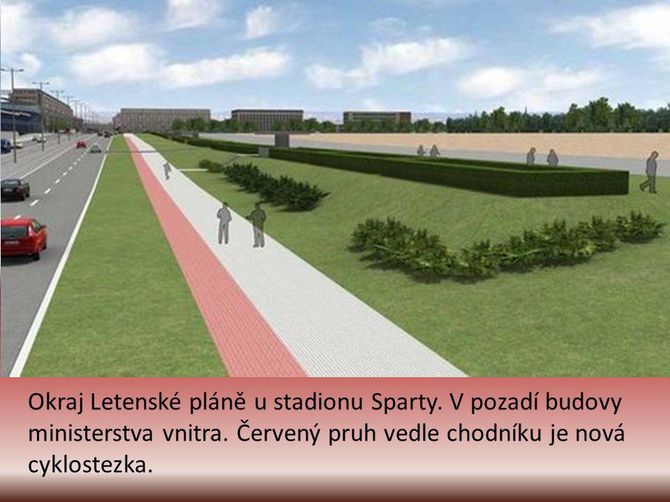 Okraj Letenské pláně u stadionu Sparty