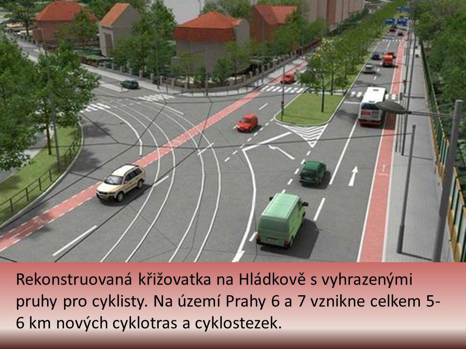 Rekonstruovaná křižovatka na Hládkově s vyhrazenými pruhy pro cyklisty