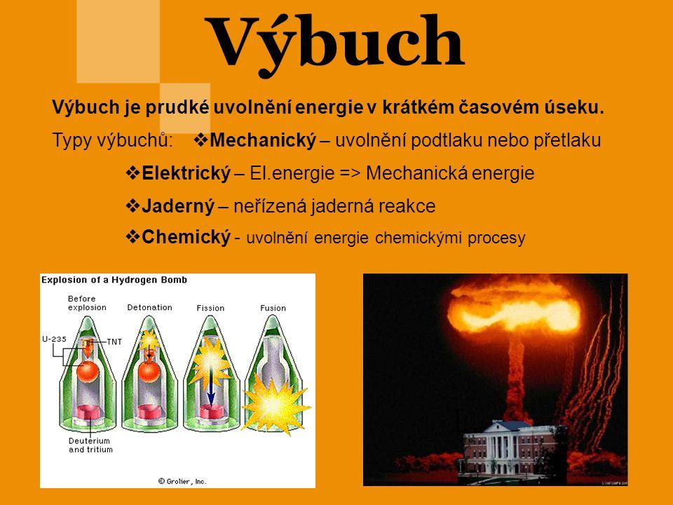 Výbuch Výbuch je prudké uvolnění energie v krátkém časovém úseku.