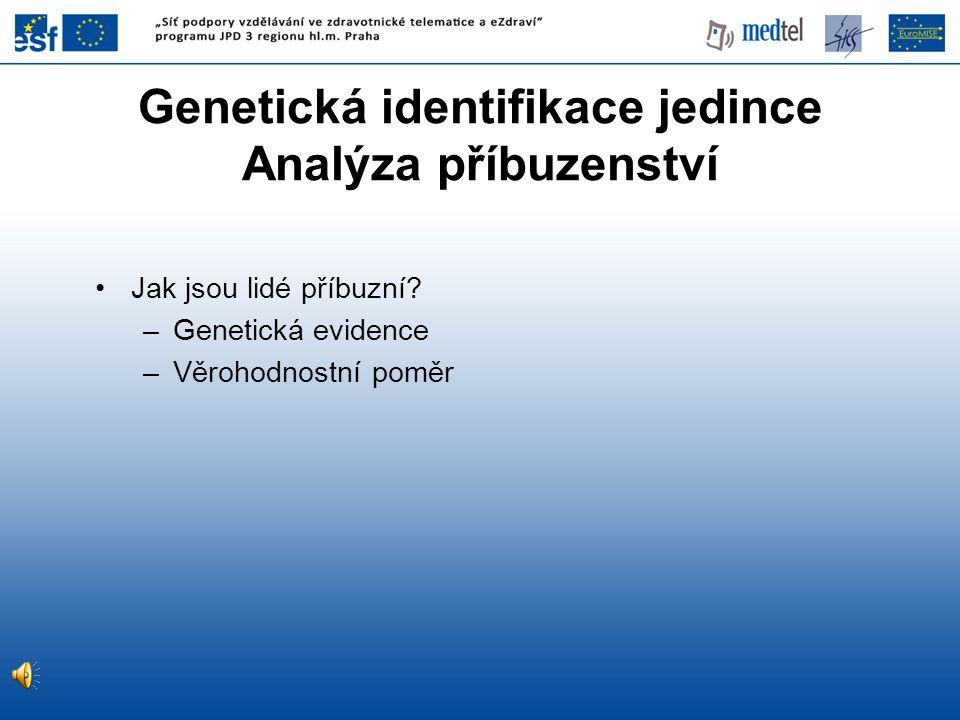 Genetická identifikace jedince Analýza příbuzenství