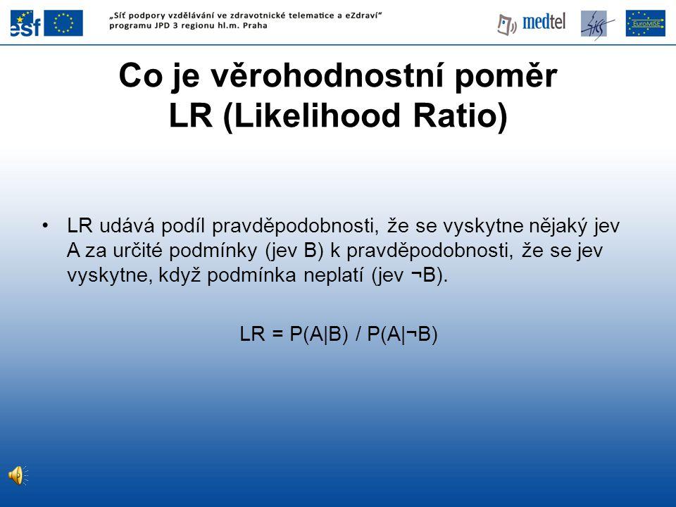 Co je věrohodnostní poměr LR (Likelihood Ratio)