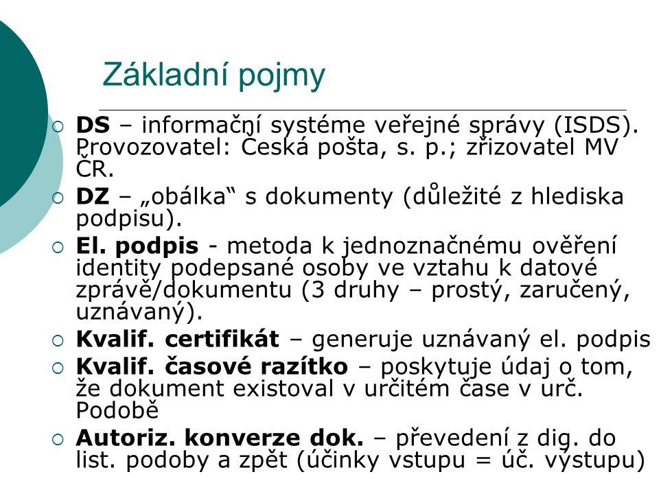 Základní pojmy DS – informační systéme veřejné správy (ISDS). Provozovatel: Česká pošta, s. p.; zřizovatel MV ČR.