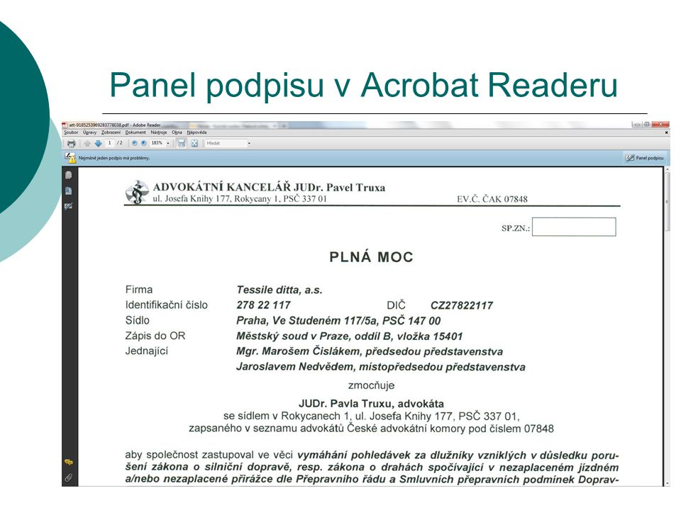 Panel podpisu v Acrobat Readeru