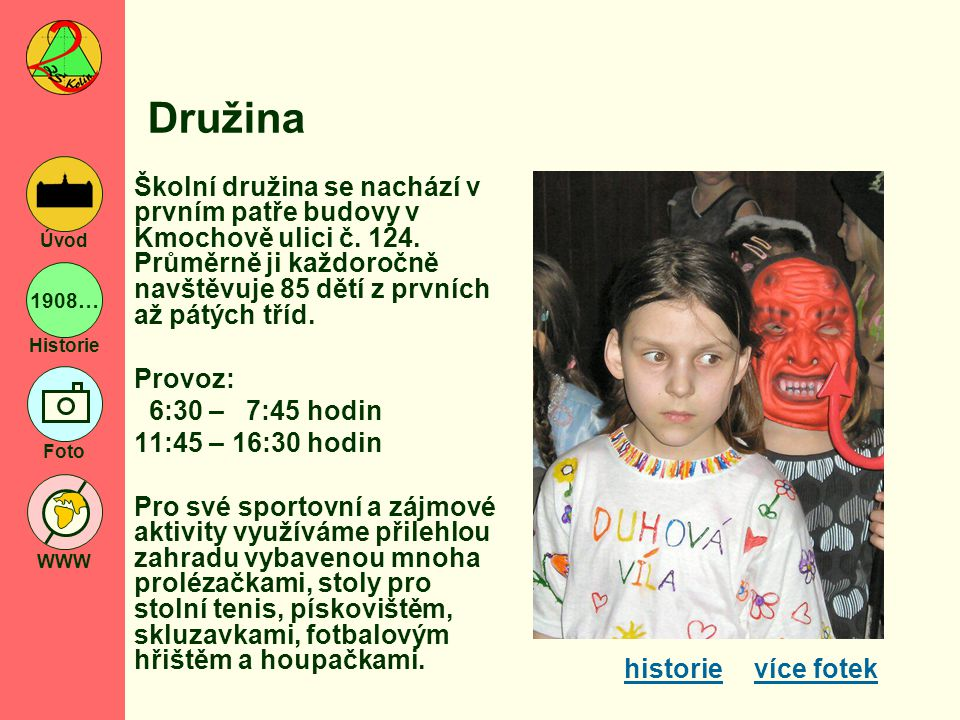 Družina Školní družina se nachází v prvním patře budovy v Kmochově ulici č. 124. Průměrně ji každoročně navštěvuje 85 dětí z prvních až pátých tříd.