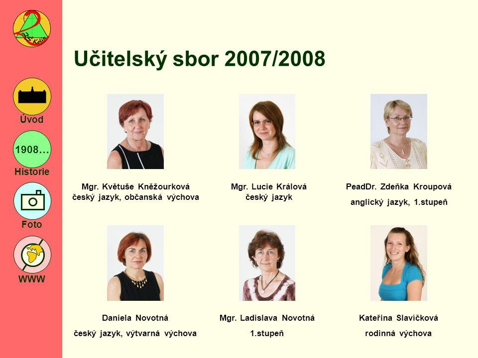 Učitelský sbor 2007/2008 Mgr. Květuše Kněžourková