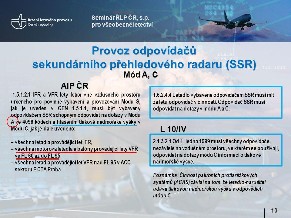 sekundárního přehledového radaru (SSR)