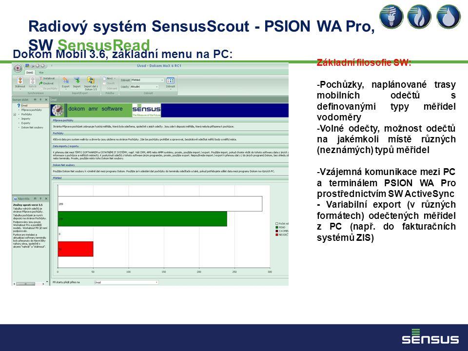Radiový systém SensusScout - PSION WA Pro, SW SensusRead