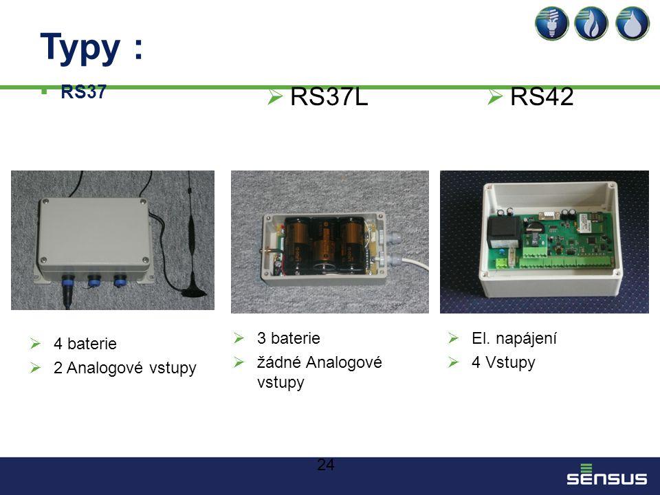 Typy : RS37L RS42 RS37 3 baterie žádné Analogové vstupy El. napájení