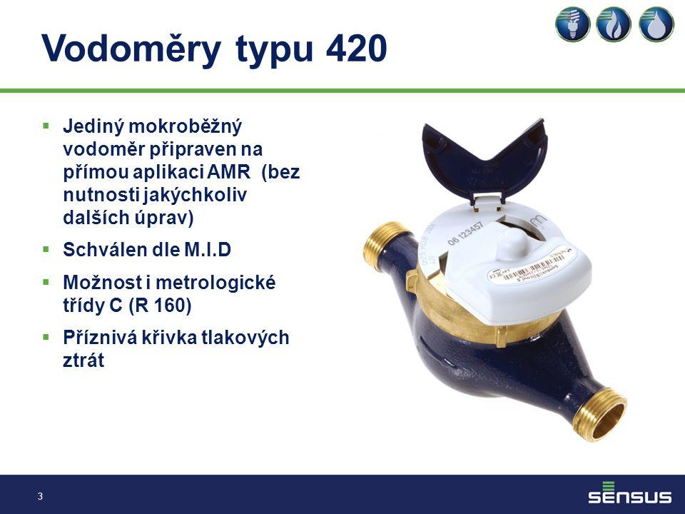 Vodoměry typu 420 Jediný mokroběžný vodoměr připraven na přímou aplikaci AMR (bez nutnosti jakýchkoliv dalších úprav)